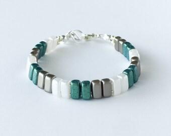 Green, White, and Steel Gray Brick Bracelet