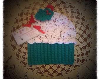 Adorable Cupcake Dishcloth/Washcloth/Handmade/Crocheted in the USA!