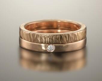 Gold wedding bands, Rose gold wedding ring, Rose gold diamond ring, Diamond wedding bands, Diamond ring set, 14k 18k simple gold bands