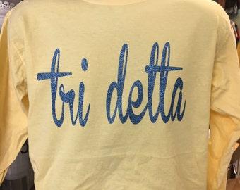 Delta Delta Delta Comfort Colors Glitter Shirts
