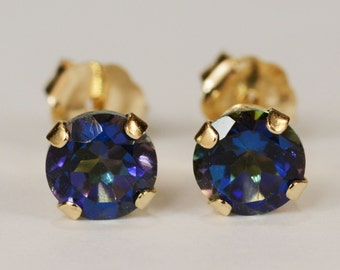 Mystic Blue Topaz Earrings~14kt Yellow Gold Setting~5mm Round~Genuine Natural Mined