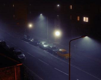 Sciennes Night, original fine art photography, print, scotland, edinburgh, dark, urban, city, sleep, street, lights, cars, fog