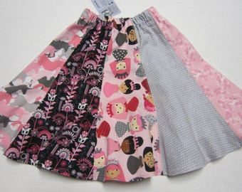 Pink and Gray Girls Twirly Skirt with Princesses and Unicorns in Sizes 2  and  6   7