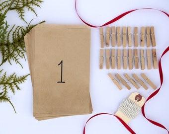 Kraft Paper Advent Bags | Advent Calendar Kit | Christmas Decor | Advent Calendar Bags | Countdown to Christmas