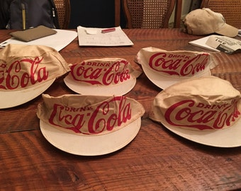 Super Rare genuine 1930's cotton coca-cola coke hats for bottling plant employees