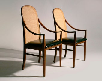 Pair Mid Century Modern Walnut Caned Dillingham Chairs Milo Baughman