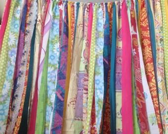 Boho Curtains Rustic Rag Fabric Ribbon Garland Backdrop -Curtain-Dorm-Gypsy-Hippie-Glamping-Junk TREND  7 foot long