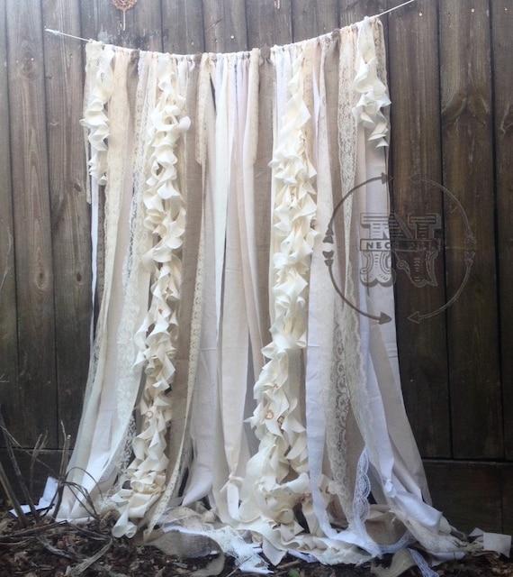 Pied de rideaux ruban dentelle Rideau rustique par ChangesByNeci