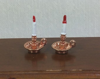 MINIATURE METAL CANDLESTICKS, Traditional 1:12 Scale,  Vintage Colonial, Early American Dollhouse Accessory