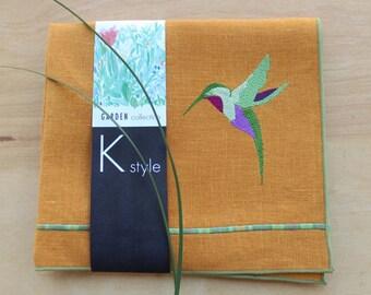 "Hummingbird Tea Towel,Hostess Gift, Embroidered Tea Towel, Guest Towel, Birthday Gift, Wedding Gift,Linen Towel, 26"" X 15"""