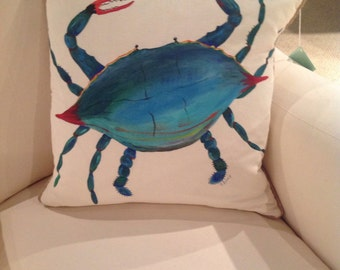 Hand painted, Blue crab down pillow