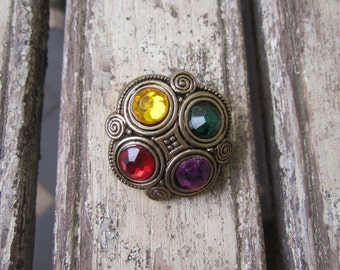 Large Vintage Gold and Jeweled Button - 1980's
