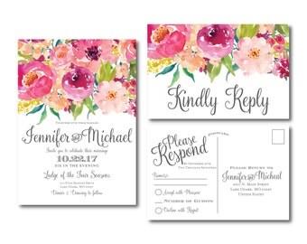 Floral Invitation & RSVP Postcard Set - Floral Wedding - Watercolor Flowers - Watercolor Floral - Rustic Wedding - Printed Wedding Set