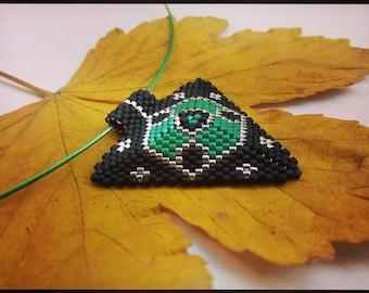Miyuki necklace- Miyuki beaded- Peyote necklace- Black pendant-Black necklace
