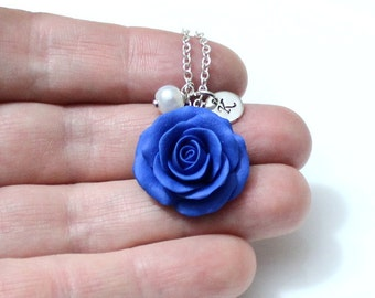 Blue Rose Necklace, Blue Pendant, Personalized Initial Disc Necklace, Rose Charm, Bridesmaid Necklace, Blue Bridesmaid Jewelry
