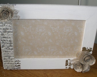 decorated wood photo frame, paper roses wood frame