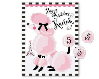 Pin the tail on the POODLE- party game - DIY party game - party game for girls - poodle game
