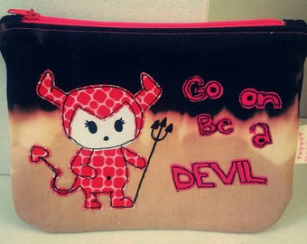 Devil applique coin purse, zipped purse