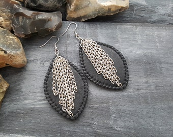 Leather and chains earrings. Black leather earrings. Dangle earrings. Chain tassel earrings. Boho earrings. Leather jewelry. Long earrings.