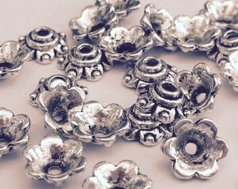 50 Flower Bead Caps Antique Silver 6mm x 7mm - FD267