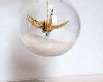 Origami Christmas Ornament - crane / handmade christmas decoration