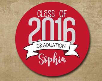 Graduation Stickers, Personalized Graduation Favors, Graduation Labels, Class of 2016, Congrats Grad, Graduation Party, Grad Stickers