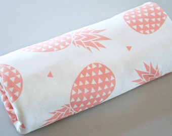 Baby blanket, organic Baby blanket, Pineapples, blush, organic baby swaddle wrap, receiving blanket, modern nursery decor, baby gift