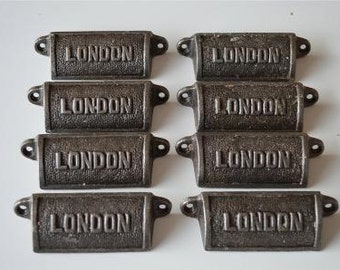 A set of 8 vintage style cast iron London drawer pulls LON