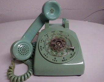 Vintage Bell System Rare Mint Green Rotary Dial Desk Top Telephone By Western Electric - FREE SHIPPING