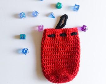 Crochet Solid Color Drawstring Dice Bag