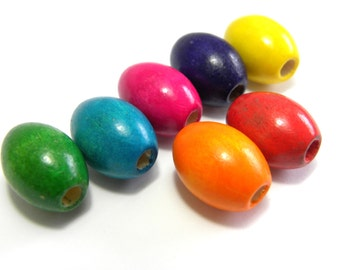50 pc. Large Oval Wooden Beads 17x13 mm - Various Colours