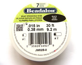 "1x 9.2m Beadalon 7 Strand Bead Stringing Wire 0.38mm (.015"") - Black"