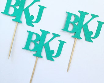 Monogram Toothpicks  (12 customized with Initials & Color)