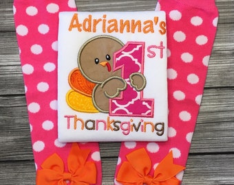 My 1st thanksgiving shirt, onesie or bib with matching leg warmers! First Thanksgiving Outfit, Babys First thanksgiving, thanksgiving dinner