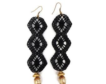 Black chandelier lace Earrings