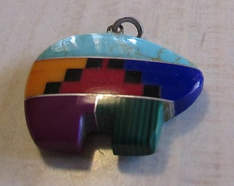 Colorful Synthetic Stone Inlay Bear Fetish Pendant