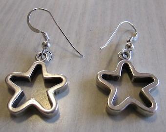 Sterling Silver Star Dangle Wire Earrings