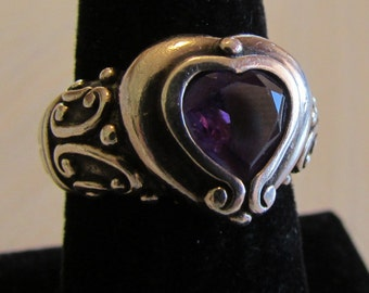 Sterling Silver and Amethyst Heart Ring Size 7