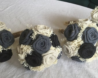 Dark Gray, Black, and Ivory Burlap Bridesmaids Bouquets, Burlap Wedding Bouquets, Rustic Bouquets, Burlap Bouquets, Shabby Chic Bouquets