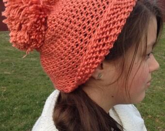 Orange Womens, Crochet Pom Pom, Stretchy Slouchy Beanie Hat