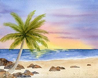Watercolor Seascape Print Coastal Decor, 8 x 10 Beach Wall Art Palm Tree Ocean Painting