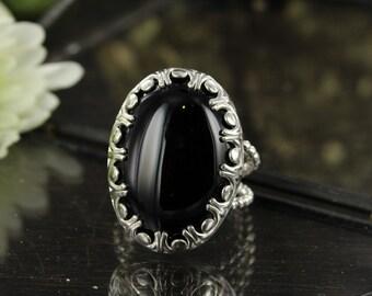Onyx ring - Black ring - Gothic ring - Statement ring - Handmade