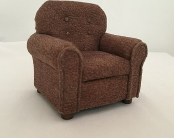 Dollhouse Miniature Upholstered Chair: Handmade