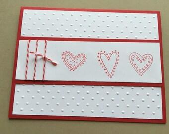 Embossed 3 Heart Card