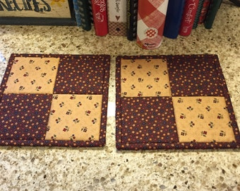 Quilted Potholders / Country decor / Kitchen Potholders /Handmade / Item # 1129