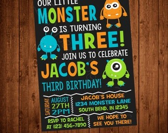Cute Monsters Printable Birthday Invitation (Other colors available!)