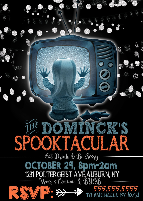 poltergeist invitations, they\'re here invites, poltergeist halloween ...