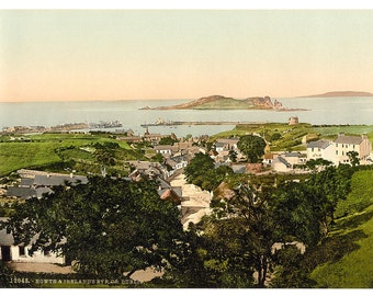 Howth and Ireland's Eye. County Dublin, Ireland] 1890. Vintage photo postcard reprint 8x10-up. Ireland County Dublin