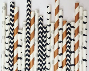 Brown/Black Mustache Party Straw Pack