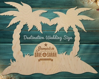Destination Wedding Guest book Sign Palm Tree Beach Tropical Alternative Wood Picture